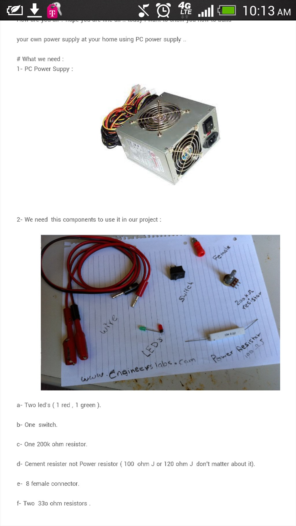 Instructable - 0 -24 Volt Adjustable Power Supply How To :)