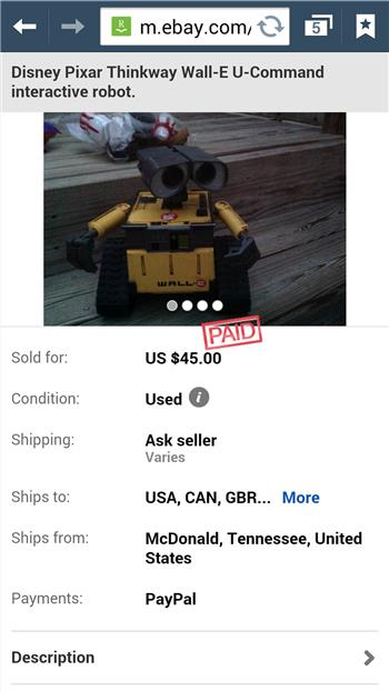 Ultimate Wall-E On Ebay $135.00